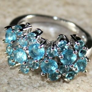 Jewelry - Sky Blue Topaz CZ Woman Flower Ring Jewelry Gift
